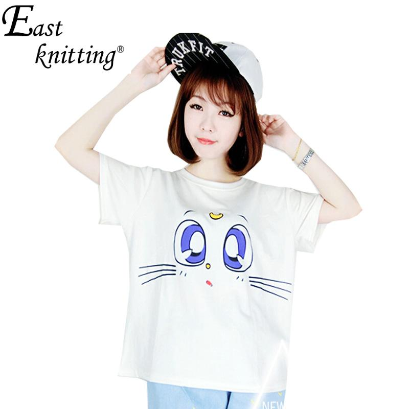 F892 Summer Style Crop Top Harajuku Bule Cat Eyes T shirt Women Clothes