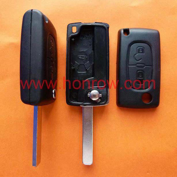 Uncut For Peugeot 307 blade 2 buttons flip remote key shell ( VA2 Blade -  2Button - No battery place ) (No Logo) &Car Keys