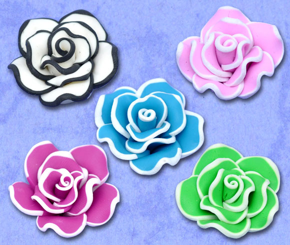 10 Mixed Polymer Clay Flower Charm Beads 30x18mm (Over $100 Free Express)(China (Mainland))