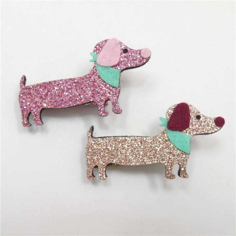 20pc/lot Felt Dachshund Hair Clip Glitter Pink Gold Dog Barrette Cute Scarf Cartoon Pet Girl Hair Clip Animal Boutique Girl Grip(China (Mainland))