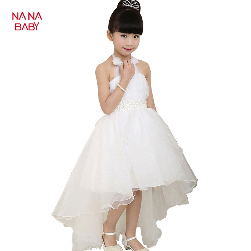 2015 Summer Princess Wedding Bridesmaid flower girl dress for Child wear Kids clothes white party tutu dresses for girl !!(China (Mainland))