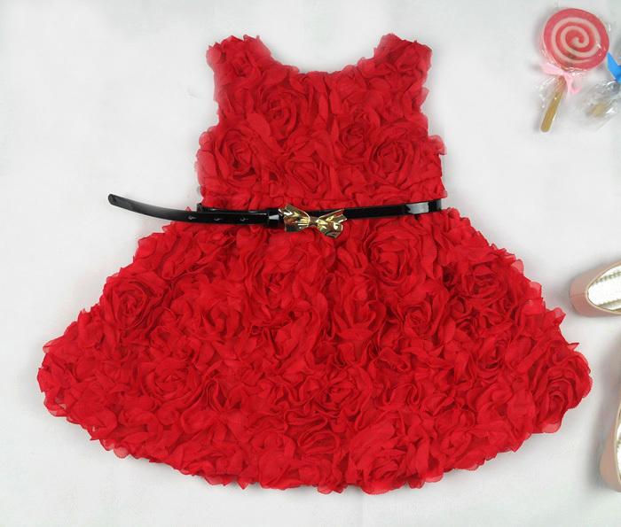 Fashion Kids Rose Flower Christmas New Year Girl Dress Baby Girls' Dresses Red Children Clothing Autumn -Summer Supernova Sale
