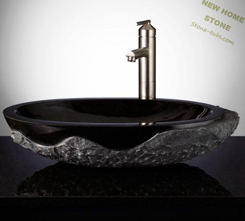 Black Granite Sinks Rough Outside And Polished Inside Oval Vessel Wash Basin Luxury Design