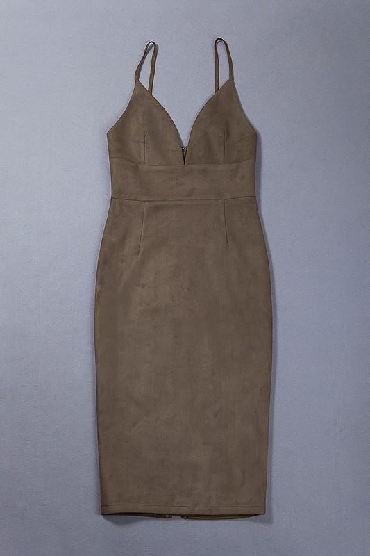 High Quality Sling V-neck Velour Leather Bodycon Dress Celebrity Party Elegant Dress