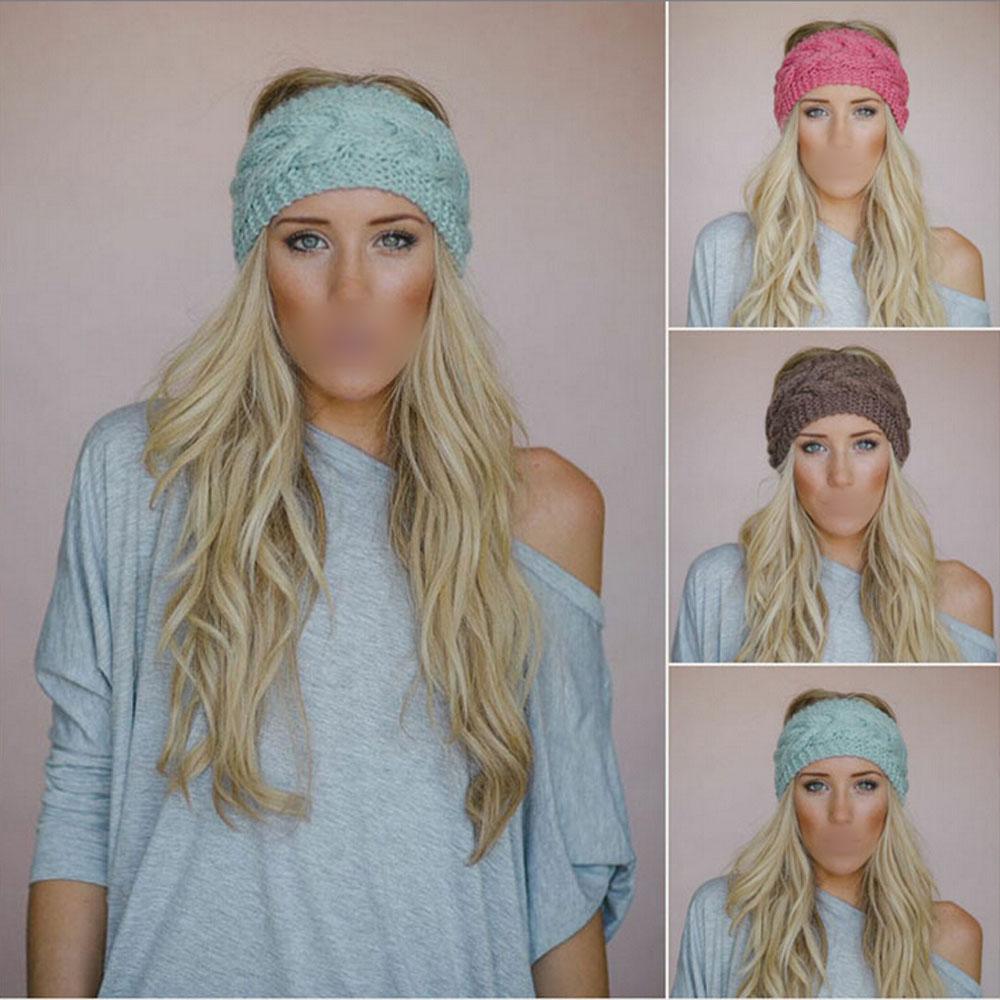 New Crochet Headband Knit hairband Flower Winter Women Ear Warmer Headwrap(China (Mainland))
