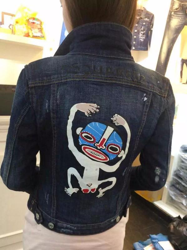 2015 New Autumn Winter dsq Women Brand Denim Jackets d 2 Cartoon Graffiti  Short Paragraph Slim Washed Jeans Jackets Outwear Одежда и ак�е��уары<br><br><br>Aliexpress