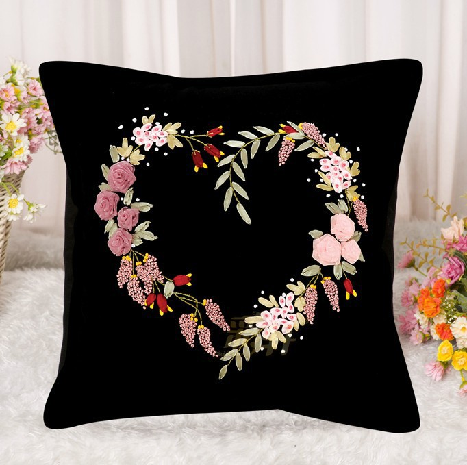 Ribbon embroidery pillow cushion car seat cover