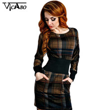 Fashion Preppy Style Tartan Plaid Scoop Neck Tunic Dress Autumn Fall Outfit Outwear Checked Vintage Long Sleeves Midi Dresses