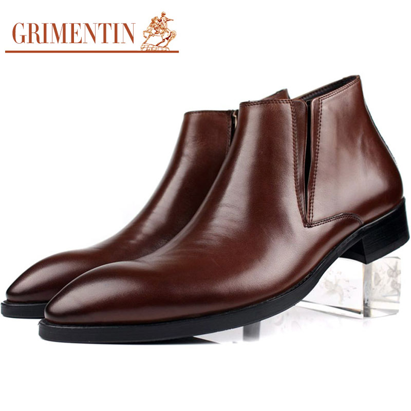 2015 Italian classic luxury fashion formal mens ankle dress boots genuine leather pointed toe man shoes for office wedding b221(China (Mainland))