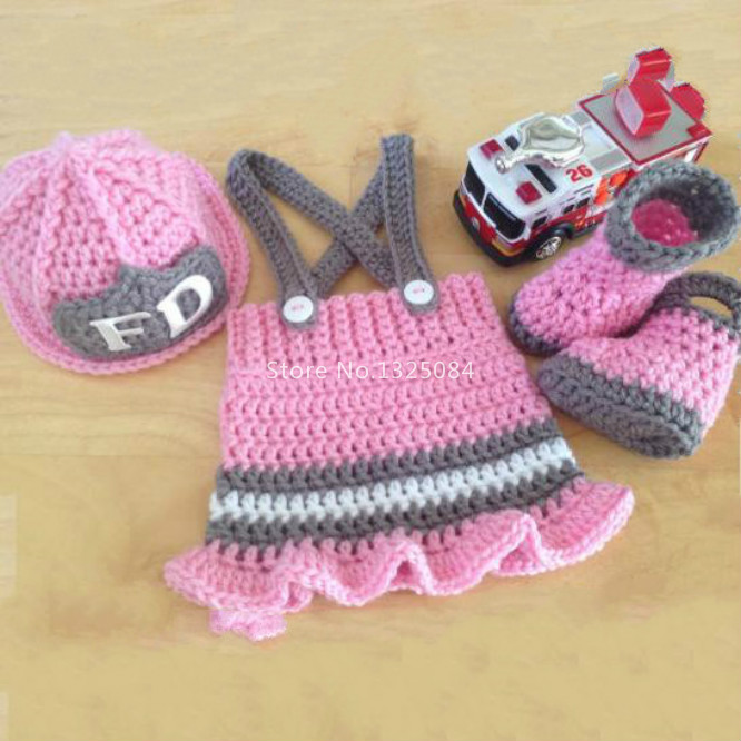 Crochet Patterns For Baby Frocks : Crochet Knitted Newborn Baby Girl Fireman Outfit Clothing ...