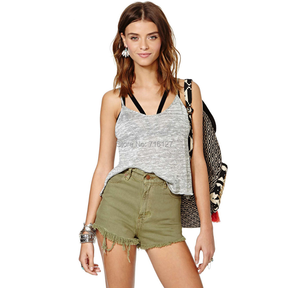 2014 summer new women trousers high waist Retro cotton 5-pocket jeans old army green Unedged Cuff shorts XS-XXL - Odie's store