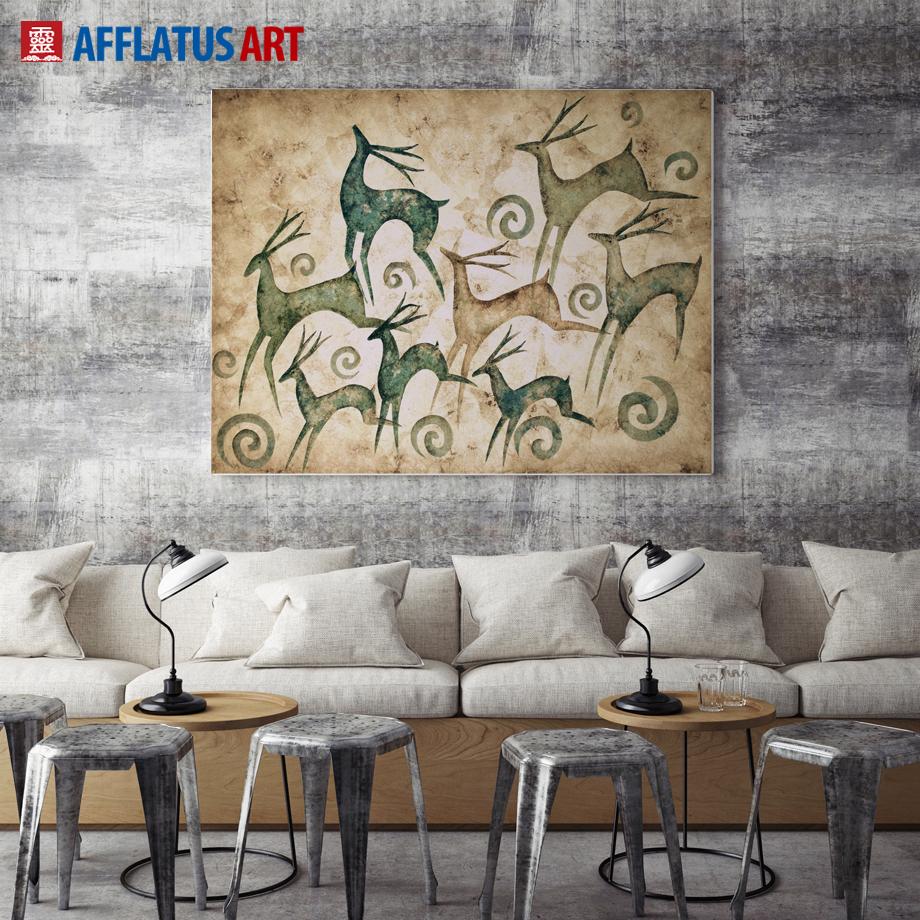 Oil Paintings For Living Room Deer Oil Paintings Promotion Shop For Promotional Deer Oil