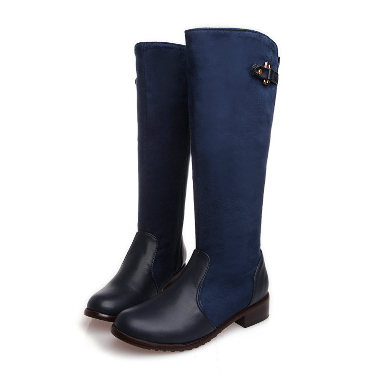 Blue PU leather Square Low Heel Fashion Woman Over The Knee Boots Women Shoes Ladies Motorcycle Boots Size 34-43