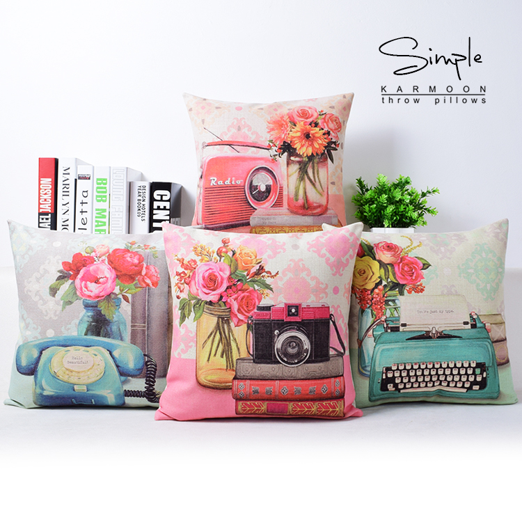 vintage phone typewriter radio camera flowers home decor cushion linen cotton pillow sofa cushions decorative throw