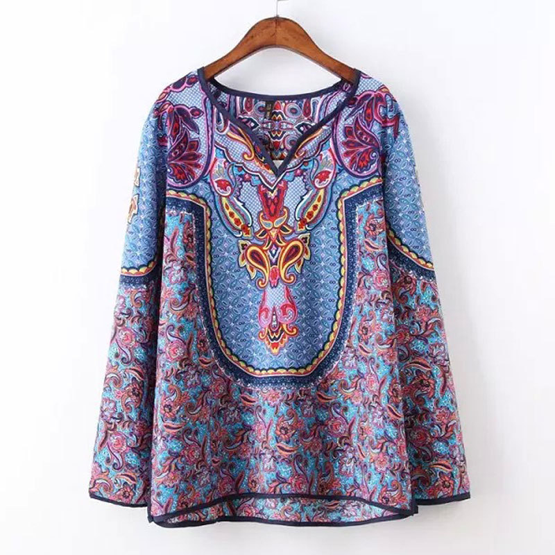 New fashion brand design ladies tops baroque pattern print for Pattern shirts for women