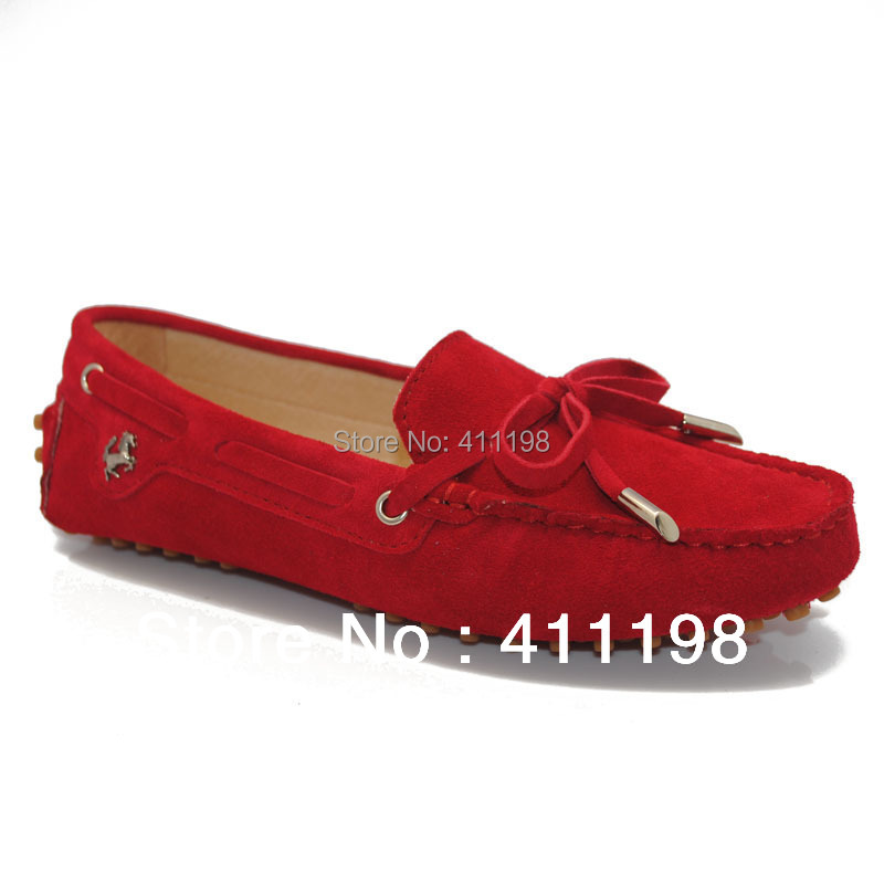 China post aolover Women Peas soft driving bow slip-on Loafers lady moccasins flat shoes 100%Authentic leather Red 19 colors(China (Mainland))