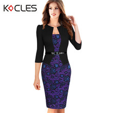 Plus Size Womens Elegant Faux Twinset Belted Striped Dot Tartan Floral Lace Patchwork Work Business Pencil Sheath Bodycon Dress