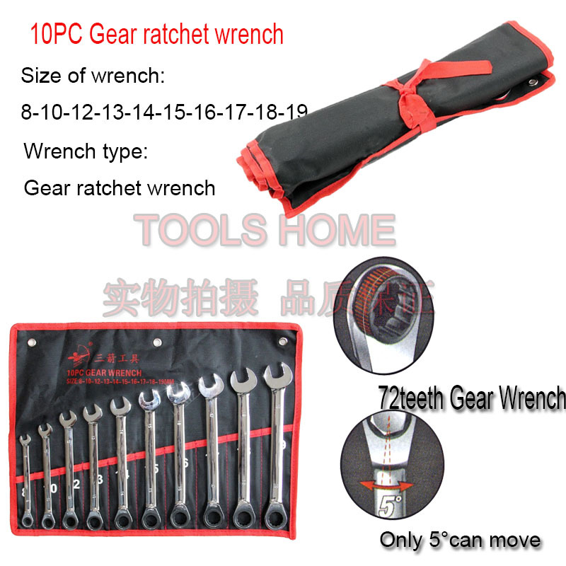 Free shipping!!10PCS/set Chrome Vanadium Gear ratchet wrench set, spanner set,gear wrench set, car repairing tools<br><br>Aliexpress