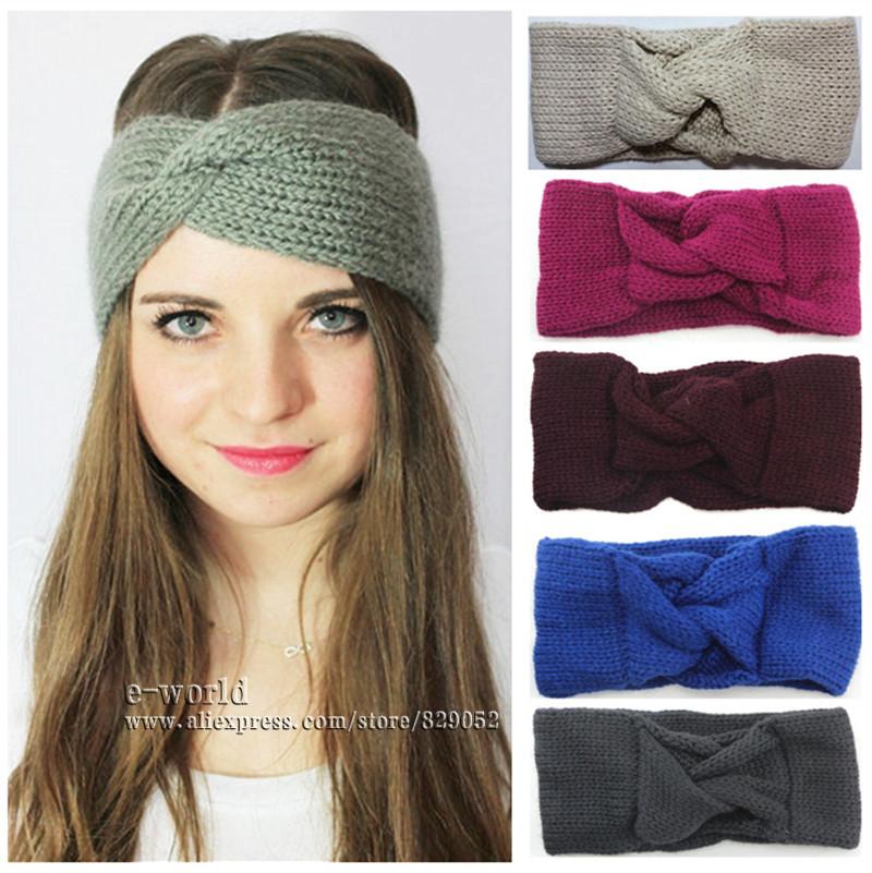 Knitted Turban Headband Winter Ear Warmer Twist Wide Headbands for Women Head Wrap Headwear Girls Hair Accessories A0410(China (Mainland))