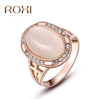 ROXI Ring For Wome Christmas Gift Classic Genuine Austrian Alloy Crystals Rose Gold Plating Pink Opal Engagement Ring Jewelry