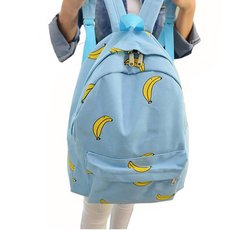 Cute Girl Banana Pattern Printing Women Backpacks Traveling Outdoor Pratical School Bags Unique Fashion Canvas Backpack(China (Mainland))