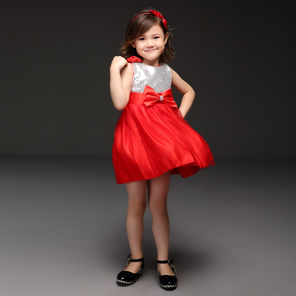 New Style Christmas Sequin Infant Girls Dress With Cute Red Bow Baby Vestido For Princess Party GD40814-22(China (Mainland))
