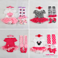 Free Shipping 4pcs Newborn Infant Baby Girls Kid Headband+Bodysuit+Leg Warmer Leggings+Crib Shoes First walkers Suit Set Clothes