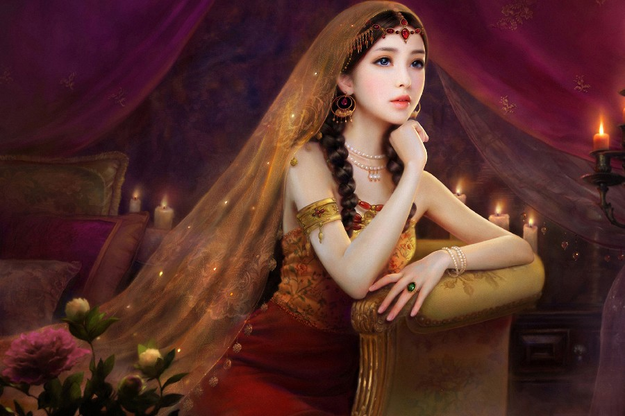Oriental arte asiática da arte da fantasia vestidos vestido moda estilo flores pálidas morena meninas pano art silk parede poster e impressões(China (Mainland))