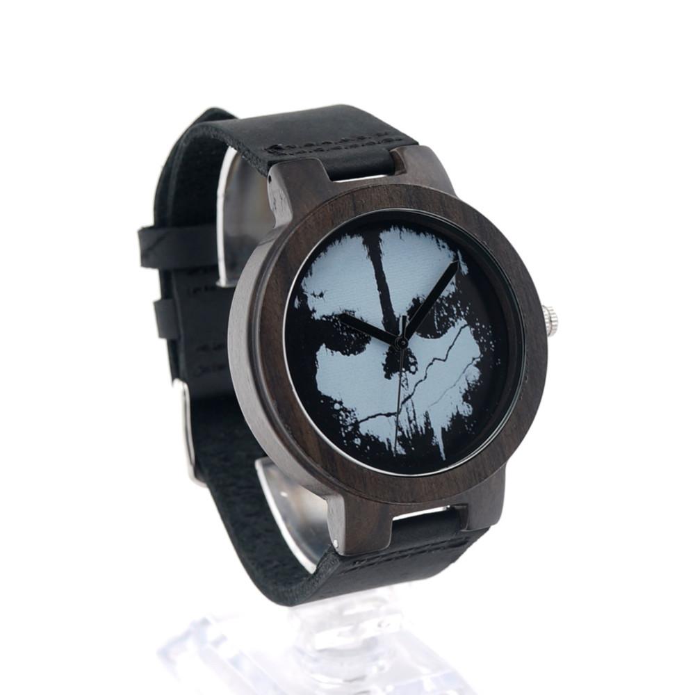 БОБО ПТИЦА Природный Ebony Sandwood Деревянные мужская Черный Круглый Punk Череп Из Натуральной Кожи Часы Luxuly женщин Наручные Часы D24