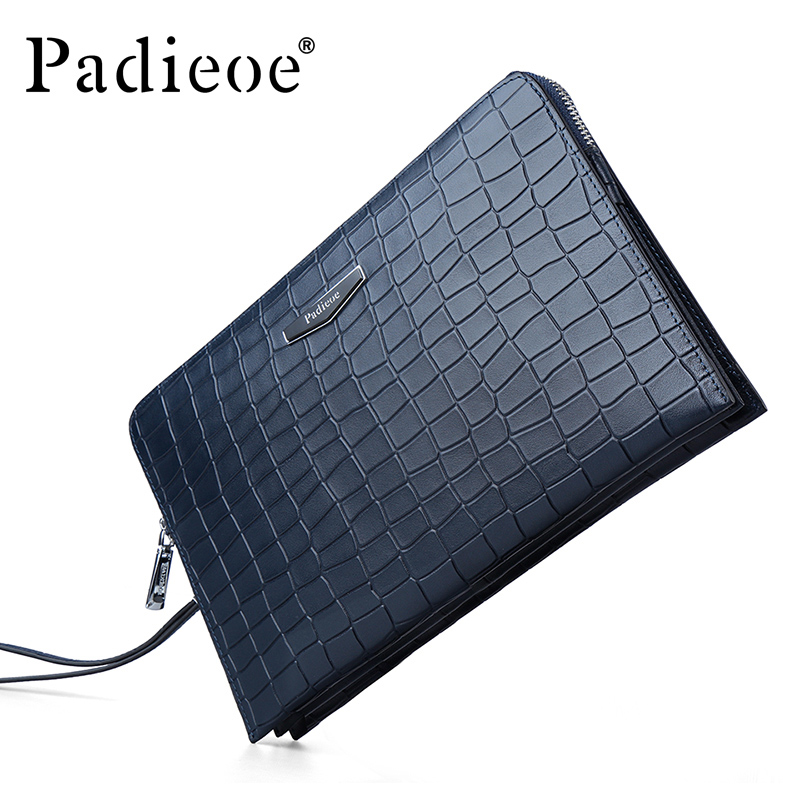 Padieoe Luxury Crocodile pattern Design men 's Wallet Genuine Leather Clutch bag Durable Cowhide business man Purse bag Wallets(China (Mainland))