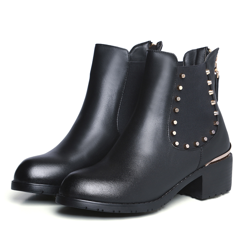 Здесь можно купить  Large sizes Women Boots Winter New Female Cotton Platform Boots med Heels Round Toe Plush Warm Motorcycle Boots Shoes Women 42  Обувь