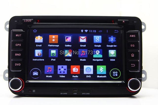 Android 4.4 Car DVD Player for VW Volkswagen Jetta Passat Golf Polo EOS with GPS Navigation Radio BT USB AUX DVR TV 3G WIFI