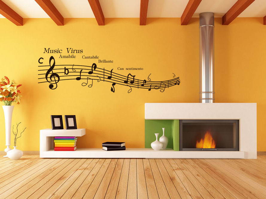 Free shipping music virus music room decorative wall for Room decorating ideas music