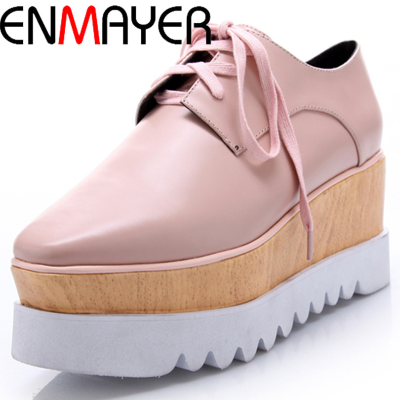 ENMAYER solid Square Toe  Platform Flats lace-up plain Casual flats Spring and Autumn Genuine Leather women flats two colors<br><br>Aliexpress