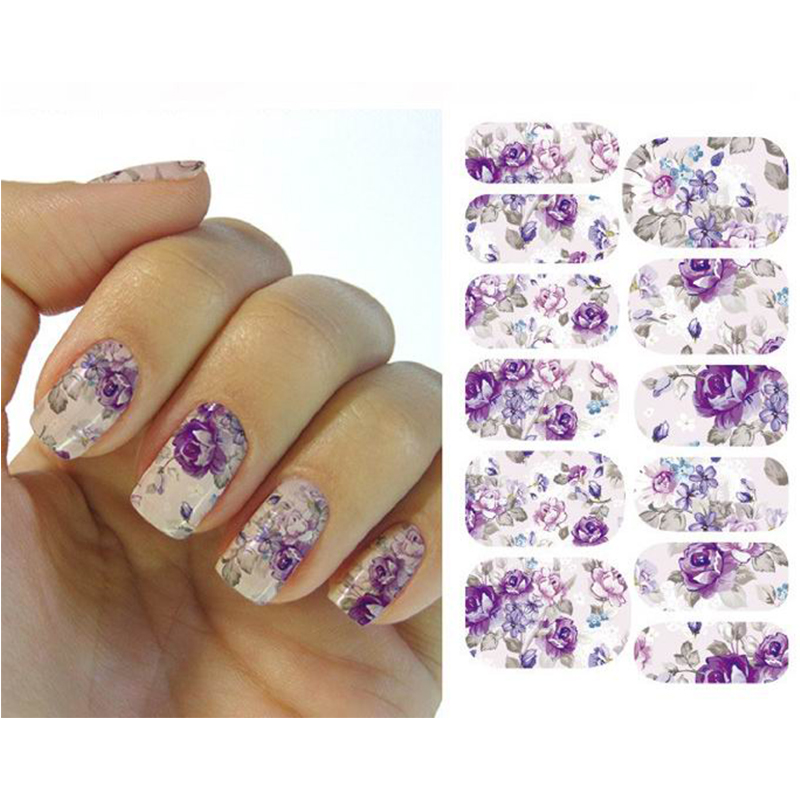 1 Sheet Water Transfer Nails Sticker 2016 Romantic Gray And Purple Flowers Design Nails Foil Sticker Decor Decals(China (Mainland))