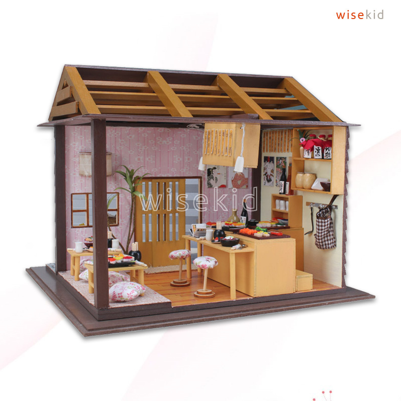 W59 Small Wood Doll House Japanese Sushi Shop Diy Kits