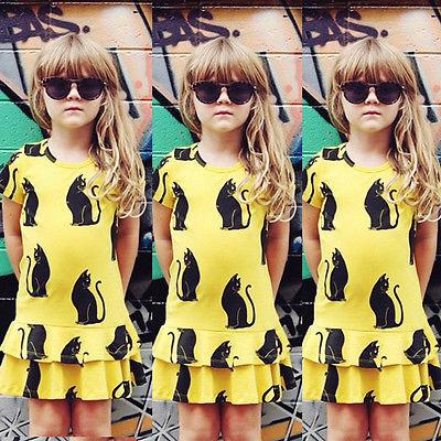 Baby Girls Kid 1-6 Cool Kitty Print Yellow Short Sleeve Party Dress Cute Cat Girls Dress Tutu Dress(China (Mainland))