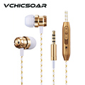 VCHICSOAR Quality Metal Gold In Ear Earphone and Headphones with Mic Super Bass Headsets for a