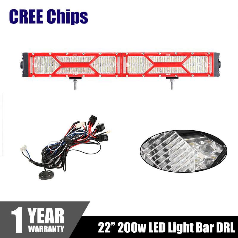 "Red Transformer CREE Chips LED Light Bar DRL 22"" 200W Combo Beam Eagle Eye Dual Row Car Work Light Bars 4x4 Offroad 4WD 12V 24V(China (Mainland))"