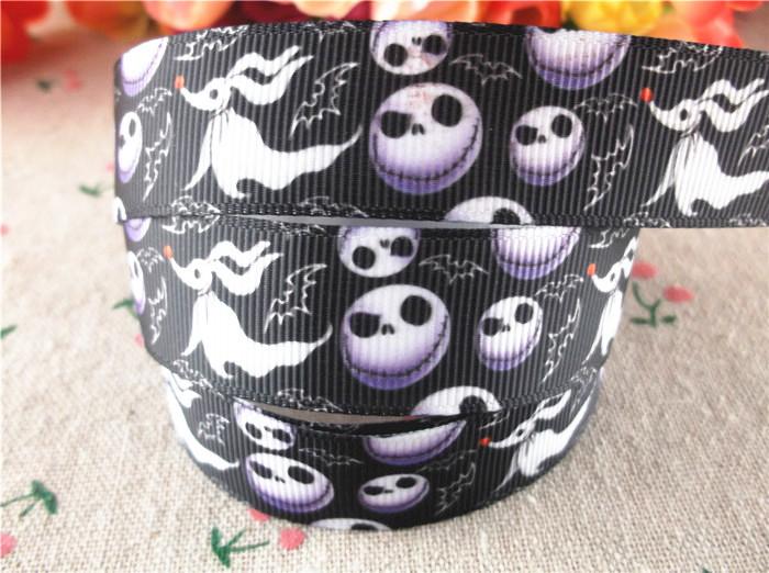 "New arrival 7/8"" (22mm) skull printed grosgrain ribbons halloween ribbon hair accessories 20 yards WQ14091411(China (Mainland))"