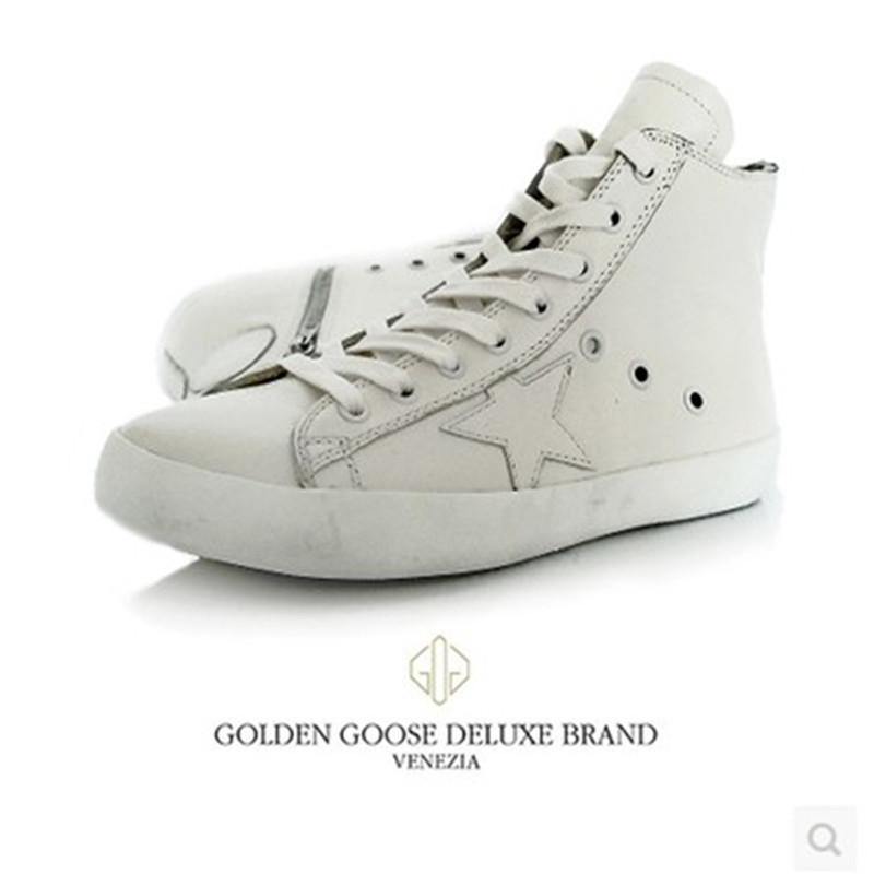 2015 Golden Goose Deluxe Shoes Women Italian Designer Genuine Leather White High top GGDB Men flats shoes Scarpe Donna