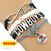 (10 Pieces/Lot) Infinity Love NFL Dallas Cowboys Football Team Bracelet Navy Silver White Custom Sports Team Drop Shipping