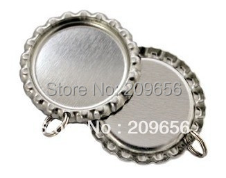 Wholesale Silver Metal Flat Beer Bottle Caps With 2MM Hole And Small Iron Hopp For DIY Crafts, 1000 pcs/lot Free Shipping(China (Mainland))