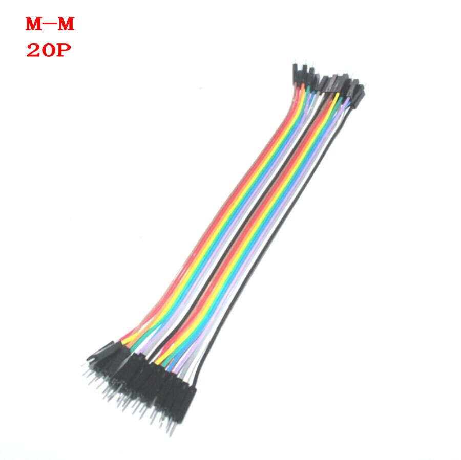 20pcs 20cm 2.54mm 1p-1p Pin Male to Male Color Breadboard Cable Jump Wire Jumper For Arduino(China (Mainland))