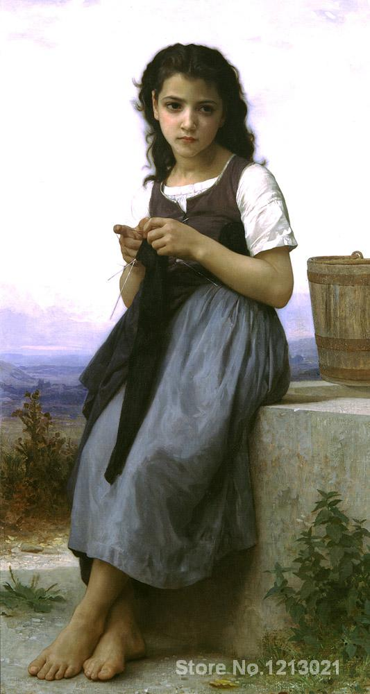Famous Portrait,William Adolphe Bouguereau,The Knitter,oil Painting canvas,High quality,Hand-painted(China (Mainland))
