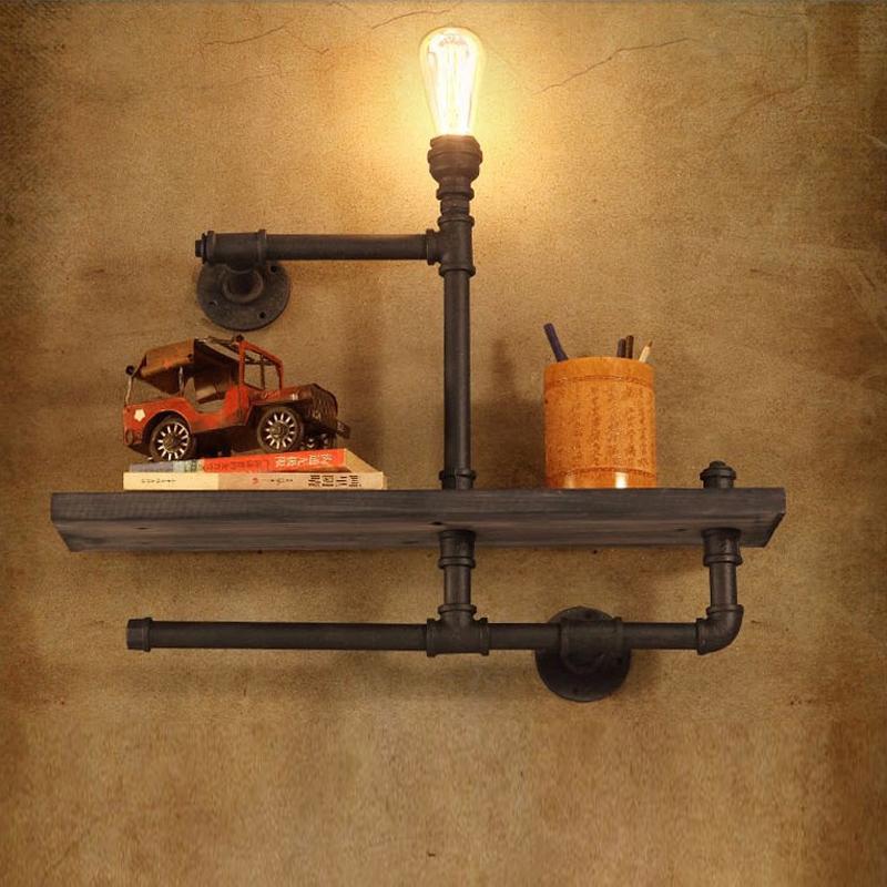 Vintage Industrial style E27 Edison bulb wall lamp with bookshelf Iron pipe shelf light restaurant bar Decorative wall lamp(China (Mainland))