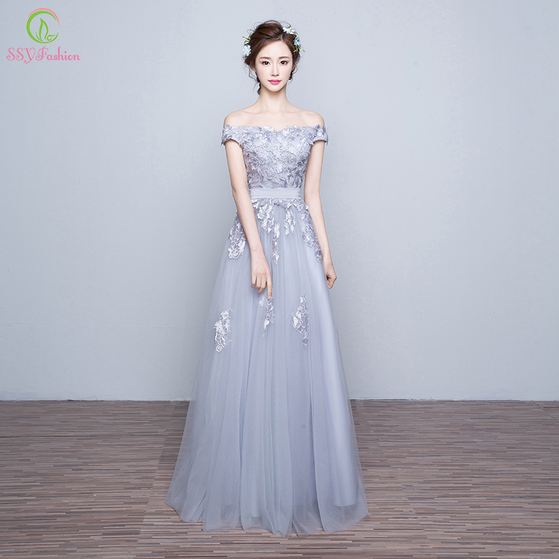 Long Straight Wedding Dresses Of 2016 New Evening Dress Elegant Bride Grey Lace Tulle Sexy
