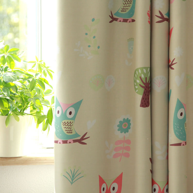 Hot Sale Kids Curtains For Living Room Windows Beige Curtains Voile Curtains Baby Owl Curtains Drapes Blackout Panel Fabric