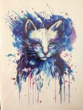 Azul bonito Do Gato de Alta Qualidade Decalques Corpo Arte Decalque Papel À Prova D' Água 21×15 cm #30