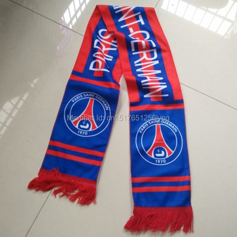 high quality Soccer Club Badge PSG Scarf men Women Sport France Football Team fans Souvenirs Gifts Neckerchief Football scarves(China (Mainland))
